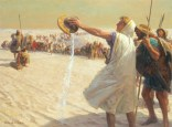 A painting depicts Alexander the Great refusing water in the desert.