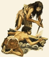 A Stone Age mother and child making a fire