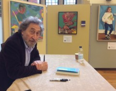 Harold Jakobson signing copies of his book pussy in front of my portrait of Daisy - Art of Reading Lots Road Group Cambridge Literary Festival April 2017-002