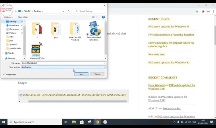 Automatically clear cache RAM memory in windows 10