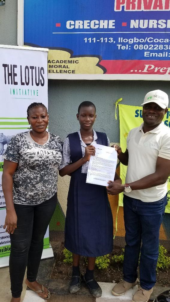 Lotus Initiative Program Manager with Miss. Favour Asibor of Kaemsels Schools, Egbeda, Lagos.