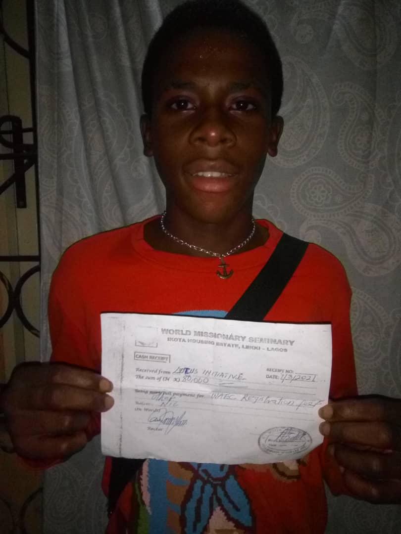 WAEC Fee of a Partial Scholar being Paid.