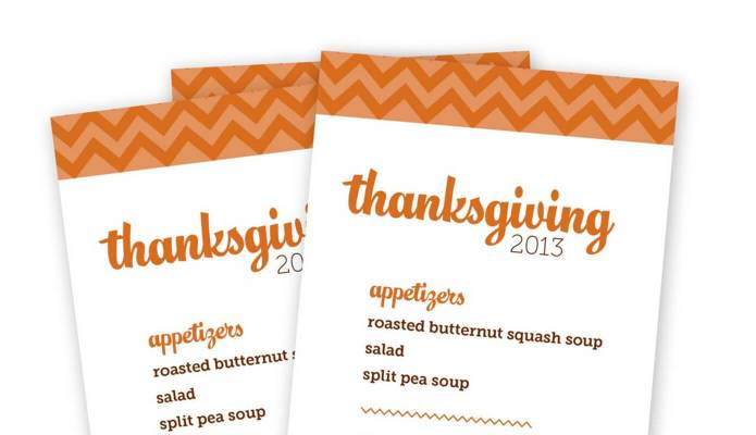 thanksgiving menus 2013