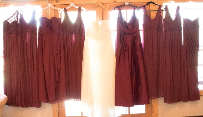 The brides dress amongst the bridesmaid dresses #thelovelygeek #datwedding2016