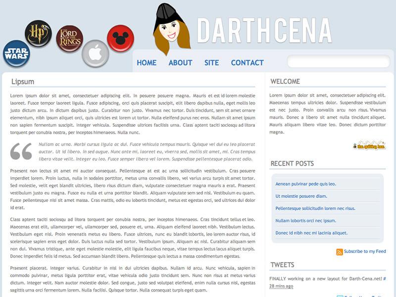 My last design for darth-cena.net featuring my mascot I created.