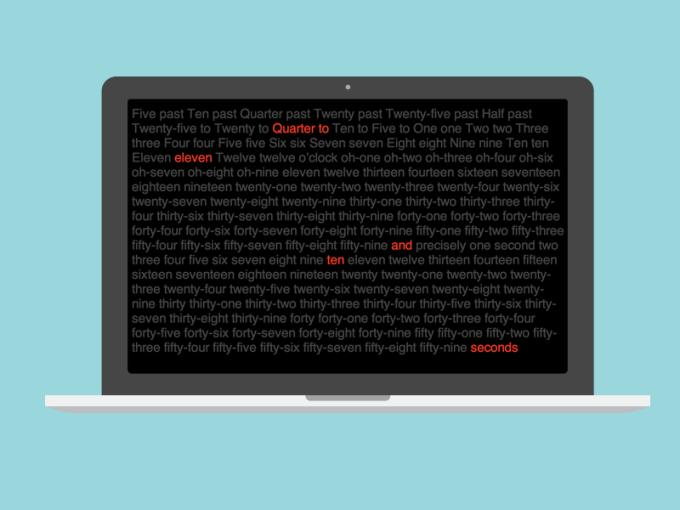 Word Clock Screen Saver