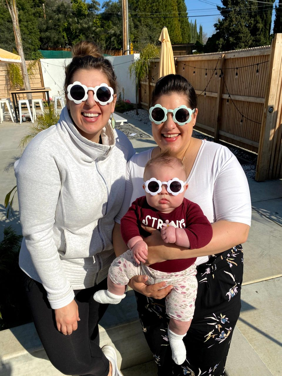 Lily with Mommy and Auntie in matching sunnies