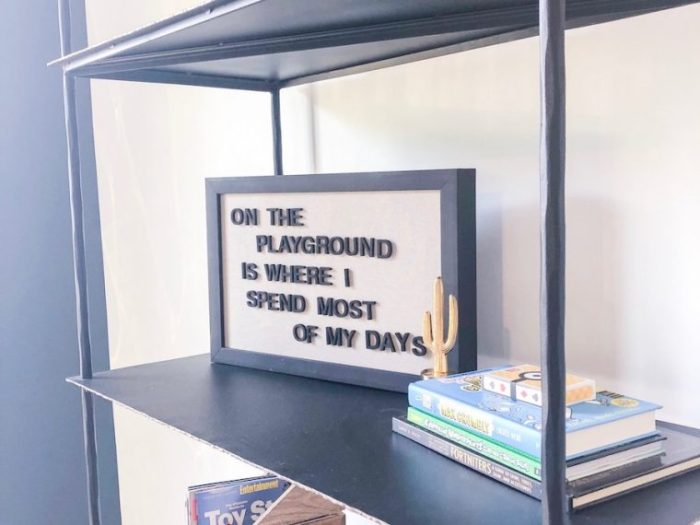 Use books and signage to add personality