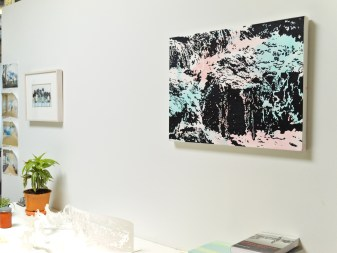 """Rivulet"" and a small work on paper pictured in Bray's studio in Denver."