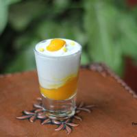 White chocolate mousse shots with mango puree