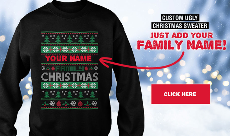 Custom Ugly Christmas Sweater Just Add Your Family Name at TheLovesOf
