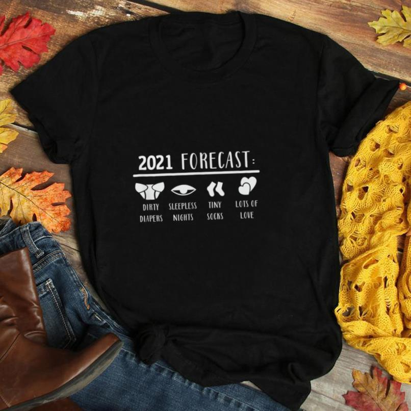 2021 Forecast gift for New Dad Mom Pregnancy Announcement T Shirt
