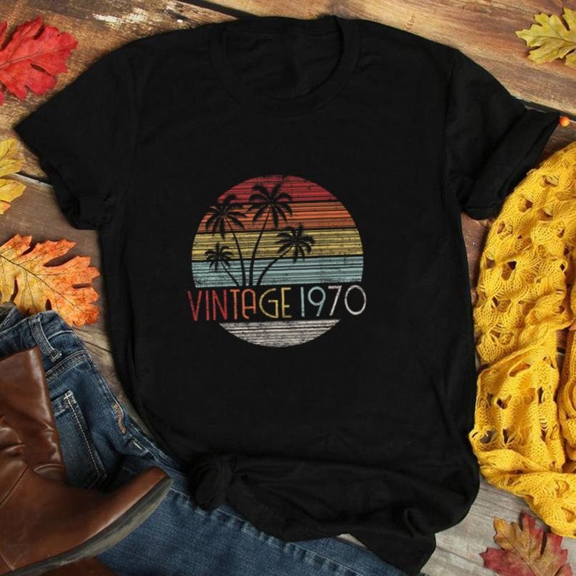 50 Year Old Gift Vintage 1970 Sunset Palm Tree 50th Birthday T Shirt