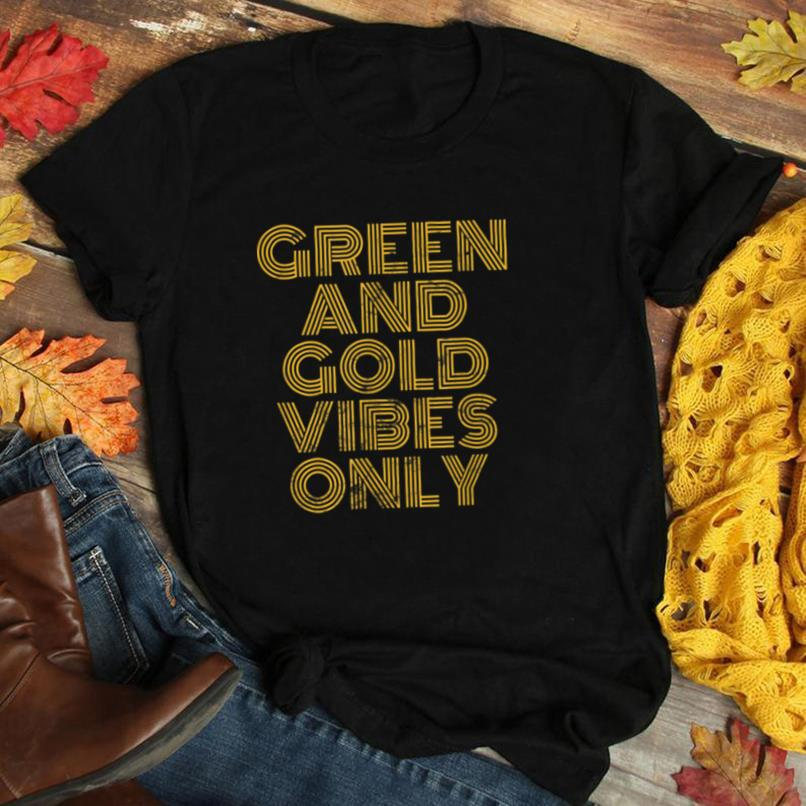Green And Gold Vibes Only High School Football Game Team 70s T Shirt