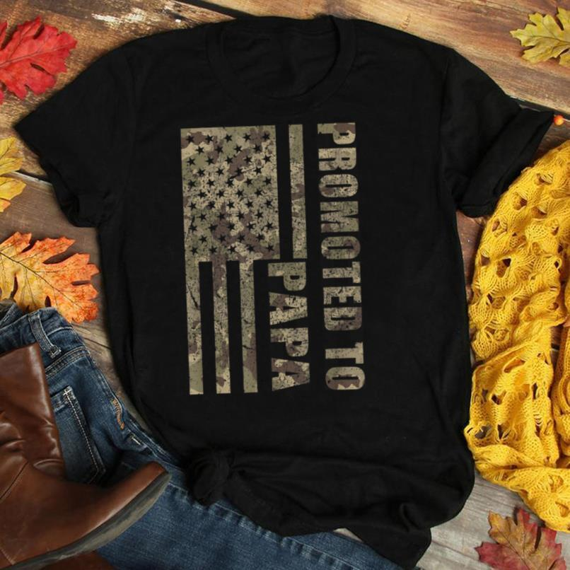 Mens Promoted To Papa Camo Flag New Grandfather Fathers Day Gift T Shirt