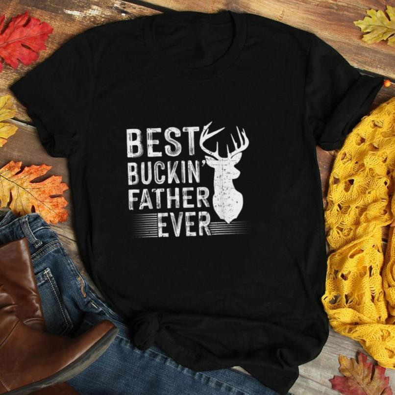 Retro Best Buckin Father Ever Deer Hunters Fathers Day Gift T Shirt
