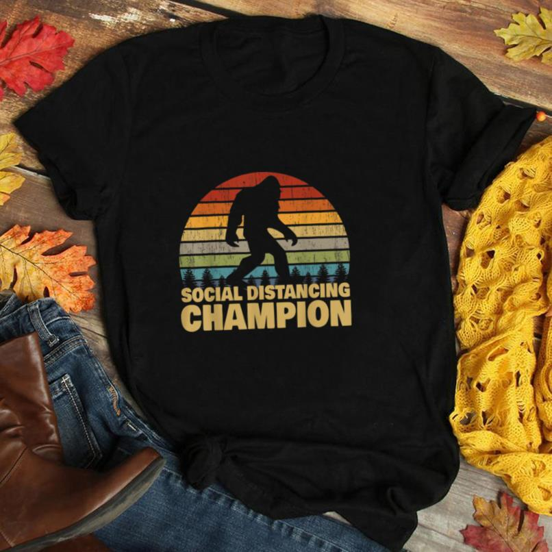 Social Distancing Champion Trendy Meme Funny Bigfoot T Shirt