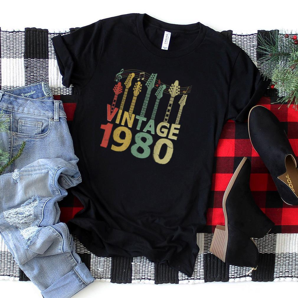Vintage 1980 Tee Guitarist Guitar Lovers Gifts 40th Birthday T Shirt