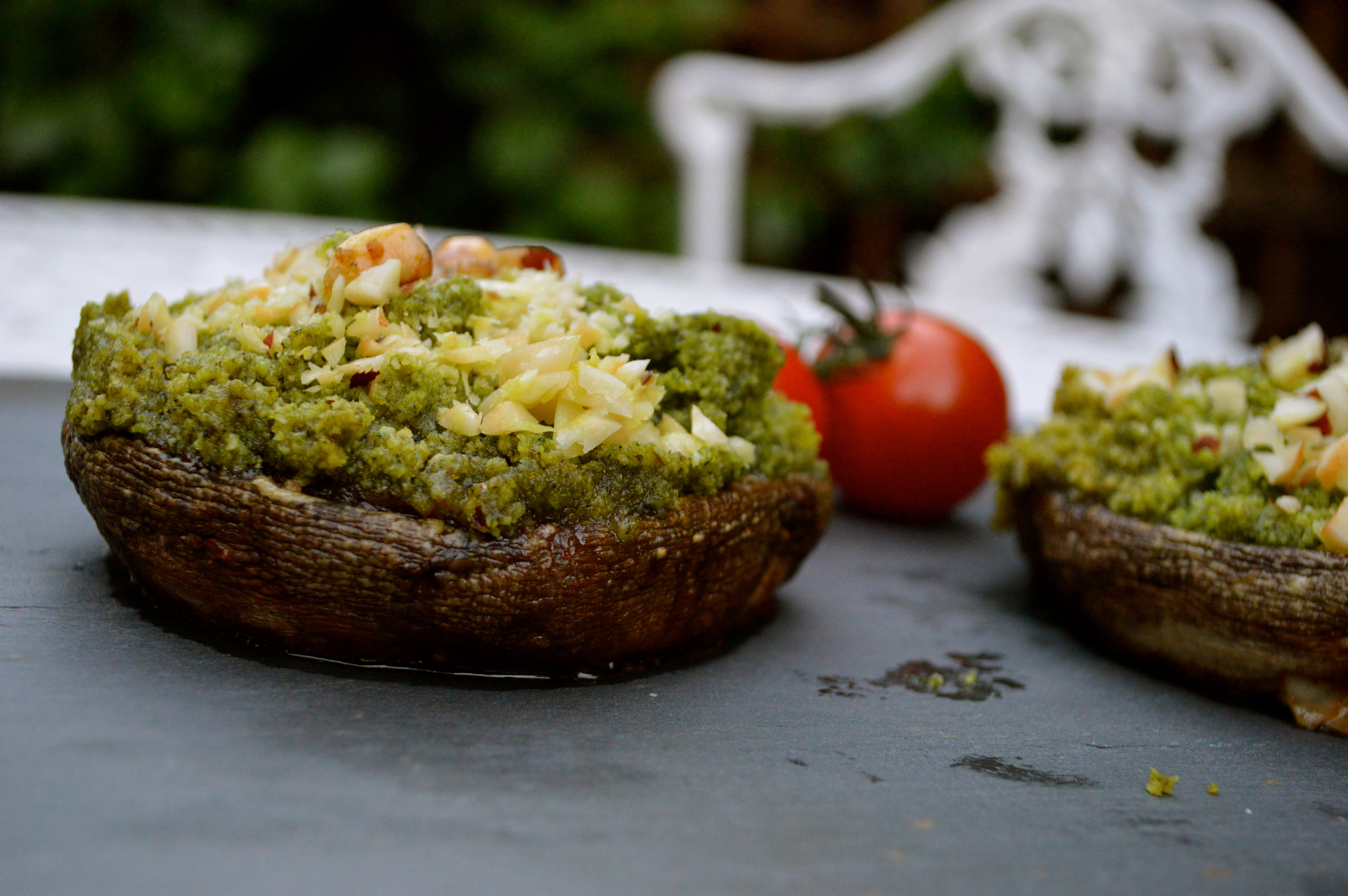 Mushrooms Stuffed With Brazil Nut Pesto
