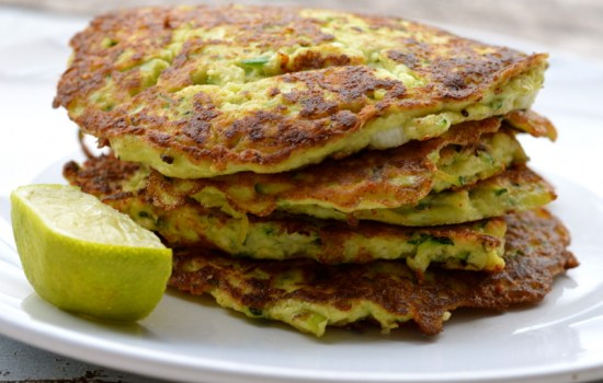 Courgette (zucchini), Spring Onion and lime fritters