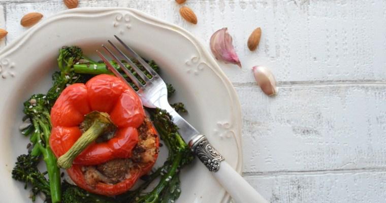 Garlic Chicken And Almond Stuffed Pepper