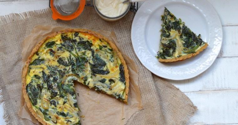 Spinach and Onion Quiche (Gluten free, Dairy free)