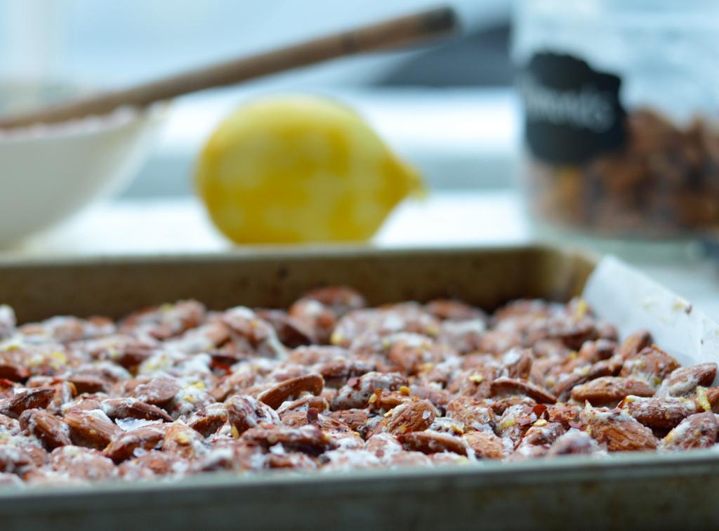 roasted lemon and chili almonds