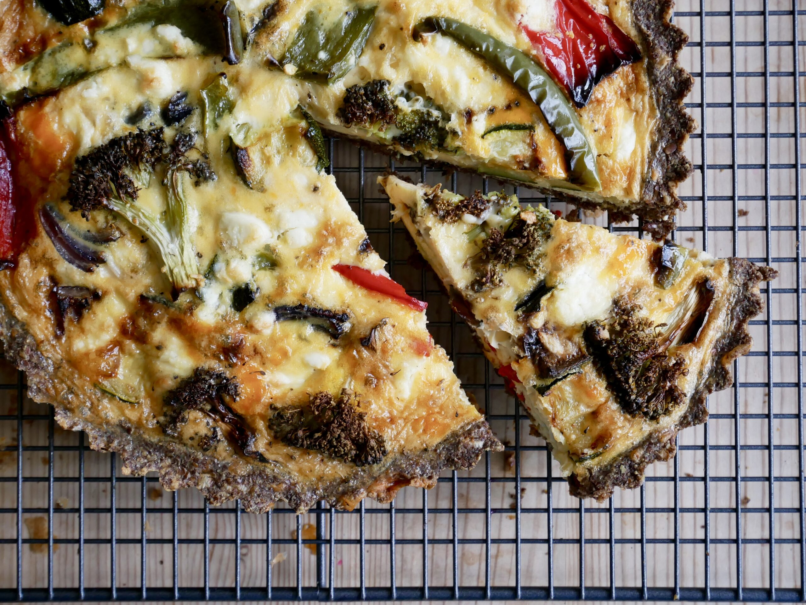 Roasted vegetable quiche with a cheddar crust