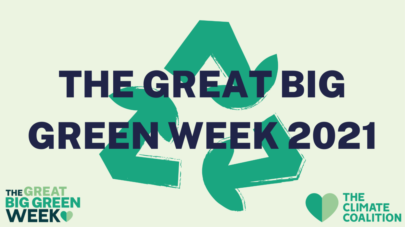 Cream Background with green recycling logo. 'The Great Big Green Week' title across the middle.