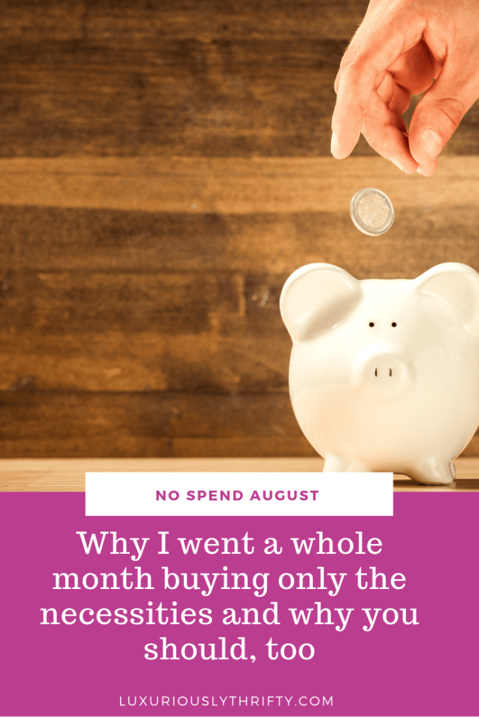No Spend August. How I went a whole month buying only the necessities | Luxuriously Thrifty