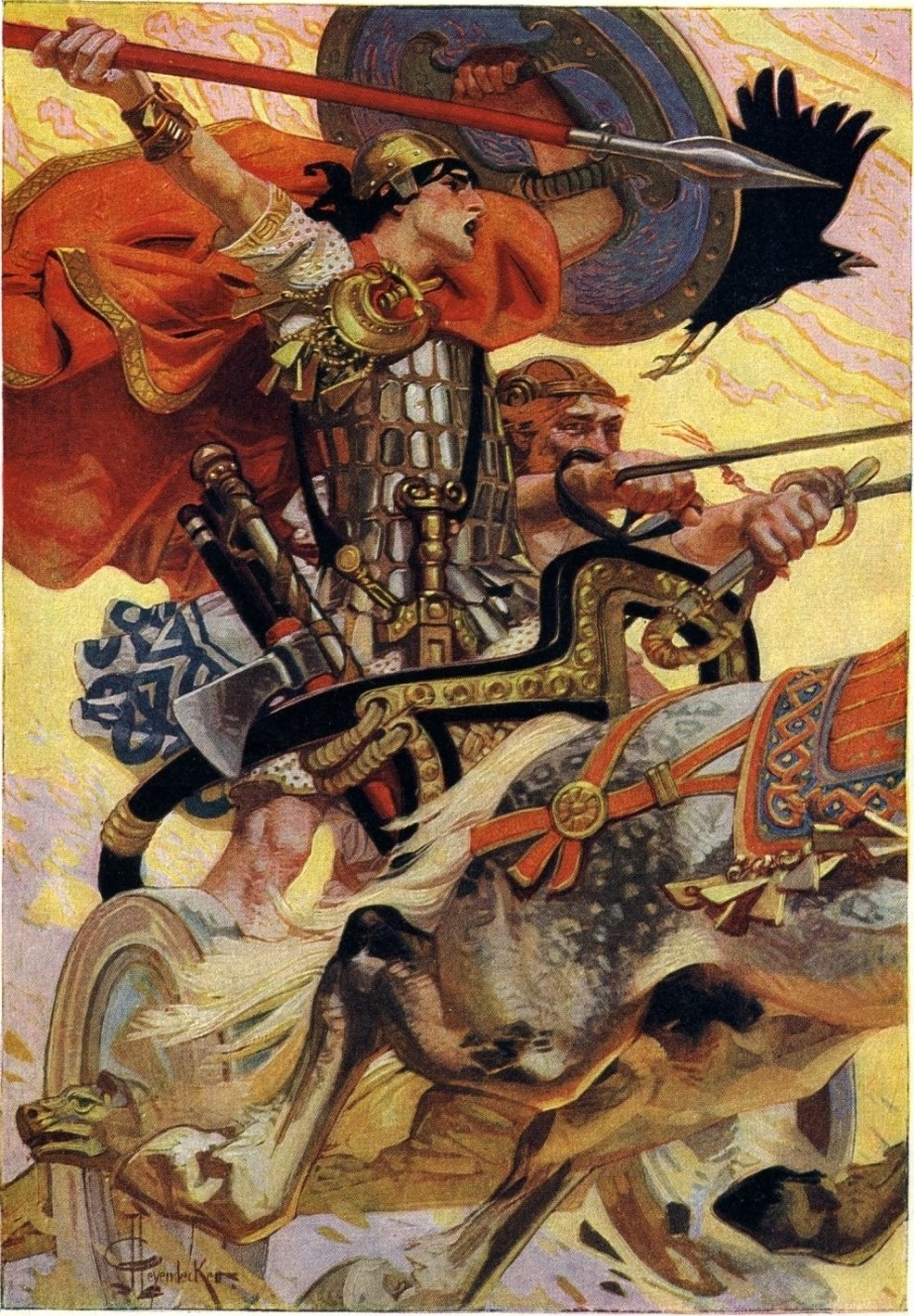 Cú Chulainn riding his chariot into battle, 1911, by J-C Leyendecker