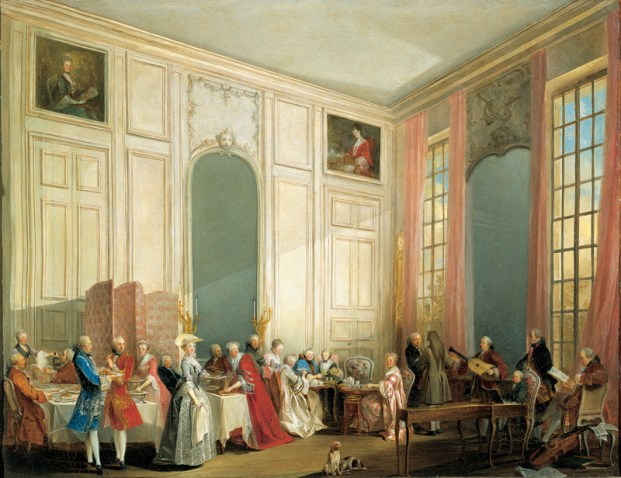 1766, Afternoon tea the Temple, with the court of the Prince de Conti, and the young Mozart, by Michel Barthelemy Ollivier