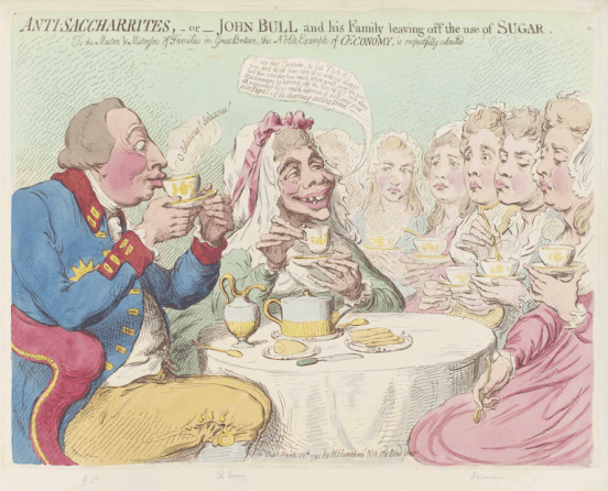 """Anti Saccharrites"" Coloured etching by James Gillray"