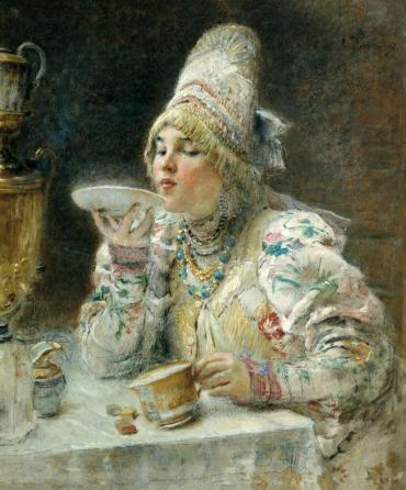 Makovsky, At tea, 1914