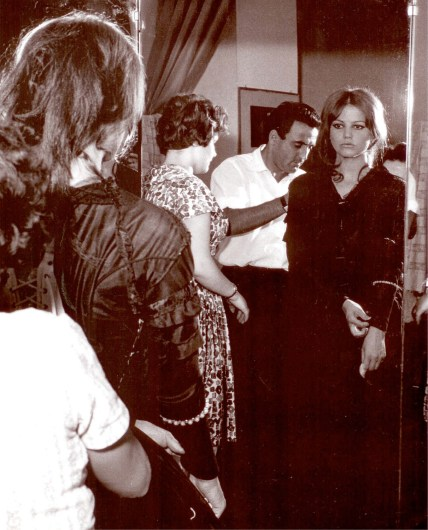 Umberto Tirelli and Claudia Cardinale during the fittings for Luchino Visconti's 'The Leopard'