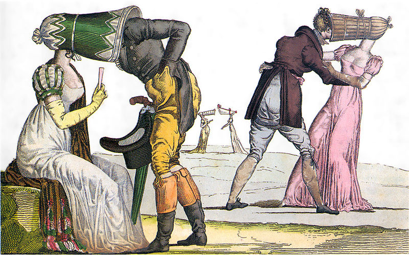"A French satire print on the poke bonnet in the 1810's; ""Les Invisibles en Tete-a-Tete"". The bonnets were called ""invisibles"" in France because the face of the wearer was virtually concealed except from the front."