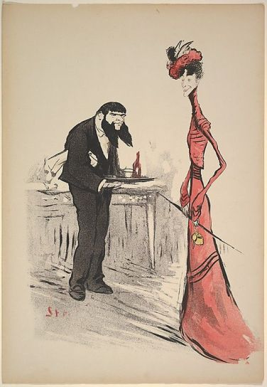 a woman in red and a waiter with a forked-beard ca-1900