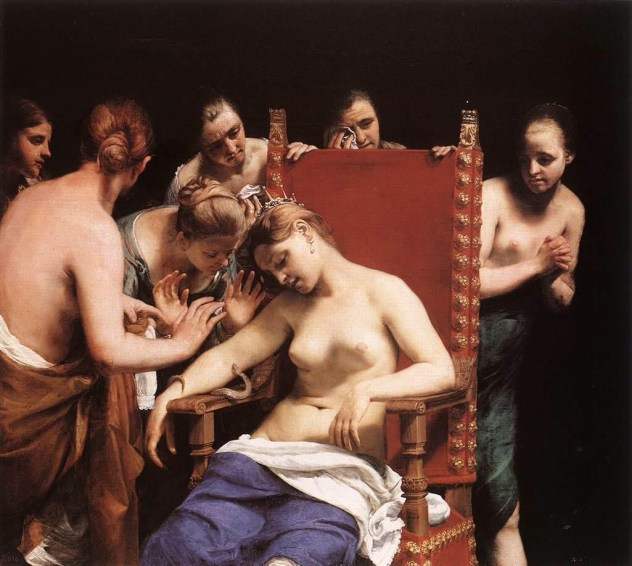 The Death of Cleopatra by Guido Cagnacci, 1658. Not a natural redhead she occasionally dyed her hair with henna