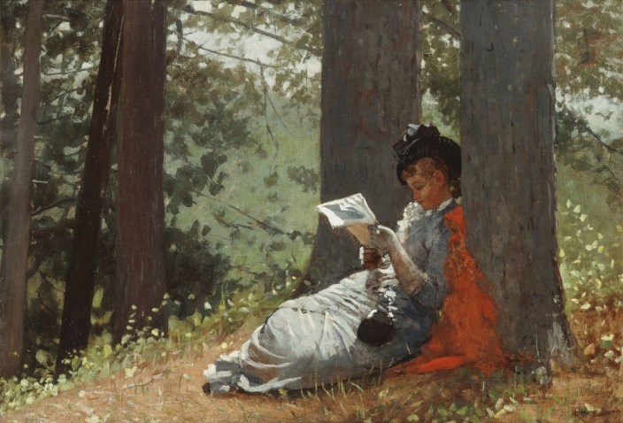 CH985216 Girl Reading Under an Oak Tree, 1879 (oil on canvas) by Homer, Winslow (1836-1910); 39.4x57.2 cm; Private Collection; (add.info.: Girl Reading Under an Oak Tree. Winslow Homer (1836-1910). Oil on canvas. Painted in 1879. 39.4 x 57.2cm.); Photo © Christie's Images; American, out of copyright
