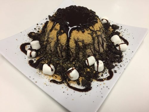 S'moreos, one of Vampire Penguin's most popular desserts. Cookies and cream shaved snow, topped with marshmallows, crushed graham crackers and Oreos. Feb. 10, 2017. Photo by | Erin Chessin.