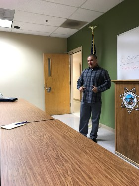 Hector Verdugo speaking to correctional officers and law-enforcement at the Criminal Justice Dialogue. Photo courtesy of Vanessa Vrtiak.