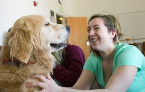 Junior Kayla Stark petting Milo. Milo's owner said that he has been working as a therapy dog since he was one year old, an unusually young age to begin therapy dog training. | Photo by Liam Olson