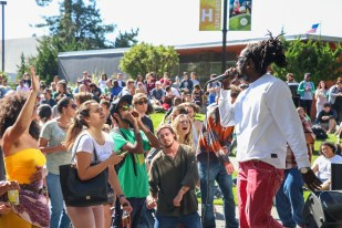 Winstrong freestyles in front of a packed UC Quad at Zion I's show on Sept. 26. | Curran C. Daly