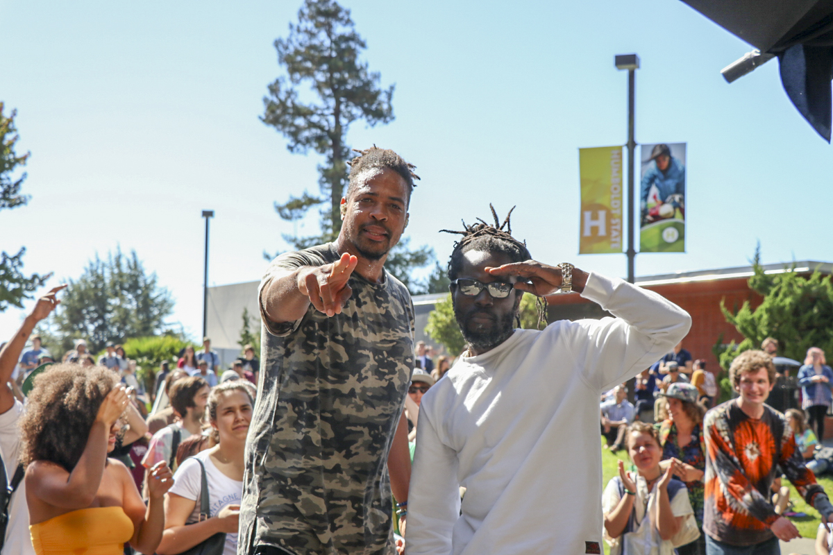 R&B and Reggae artist Winstrong (right) performed alongside Zion I's Baba Zumbi (left) in the UC Quad on Sept. 26. | Curran C. Daly