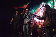 Damian Marley with band members at The Mateel Community Center on Oct. 4.