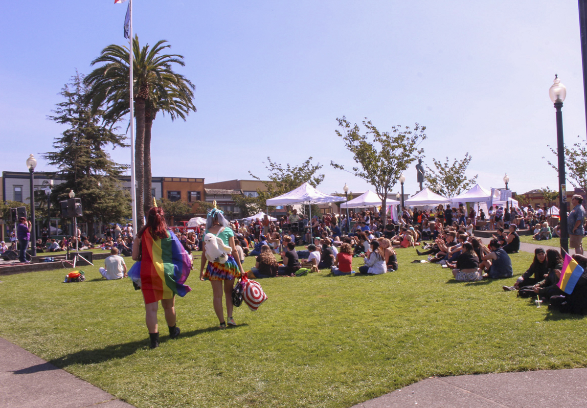 Unicorn's at pride, at the Arcata Plaza. | Kyra Skylark