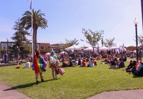 Unicorn's at pride, at the Arcata Plaza.   Kyra Skylark