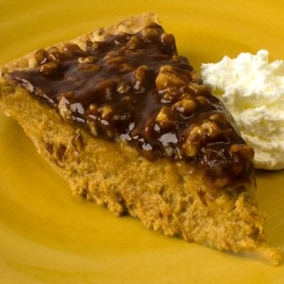 Pumpkin Sour Cream Pie with Caramel Walnut Topping