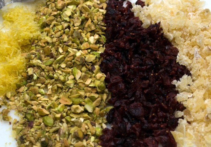 Ingredients for Cranberry, Pistachio & Candied Ginger Shortbread