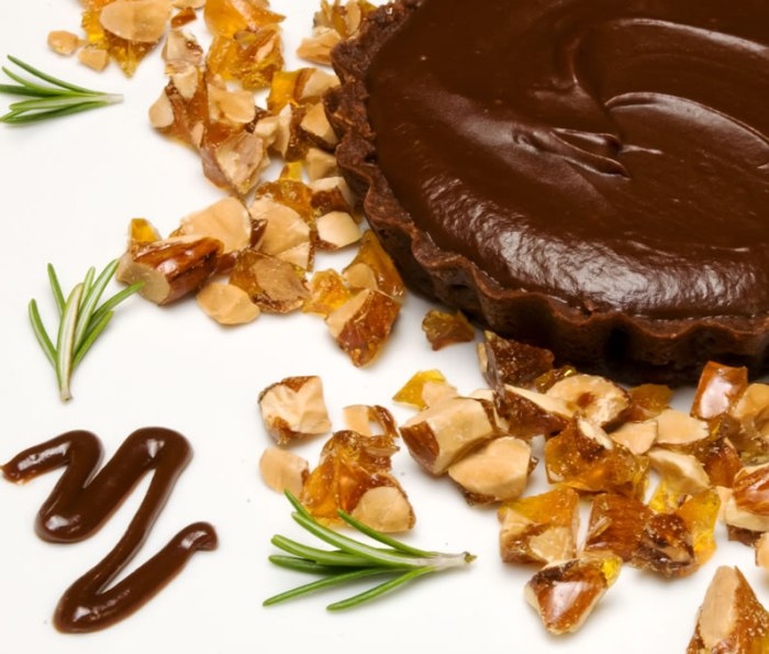 Burnt Sugar & Rosemary Chocolate Tart with Almond Praline